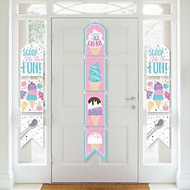 Scoop Up The Fun - Ice Cream - Hanging Vertical Paper Door Banners - Sprinkles Party Wall Decoration Kit - Indoor Door Decor