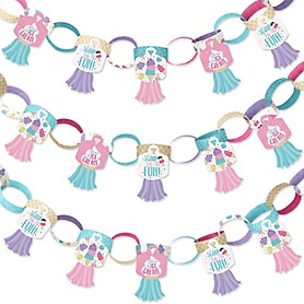 Scoop Up The Fun - Ice Cream - 90 Chain Links and 30 Paper Tassels Decoration Kit - Sprinkles Party Paper Chains Garland - 21 feet