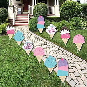 Scoop Up The Fun - Ice Cream - Lawn Decorations - Outdoor Sprinkles Party Yard Decorations - 10 Piece