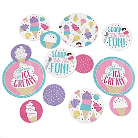 Scoop Up The Fun - Ice Cream - Sprinkles Party Giant Circle Confetti - Party Decorations - Large Confetti 27 Count