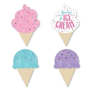 Scoop Up The Fun - Ice Cream - DIY Shaped Sprinkles Party Cut-Outs - 24 ct