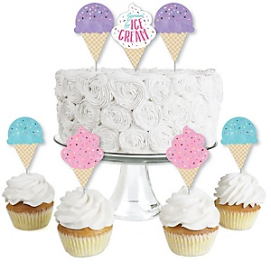 Scoop Up The Fun - Ice Cream - Dessert Cupcake Toppers - Sprinkles Party Clear Treat Picks - Set of 24