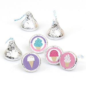Scoop Up The Fun - Ice Cream - Sprinkles Party Round Candy Sticker Favors - Labels Fit Hershey's Kisses - 108 ct