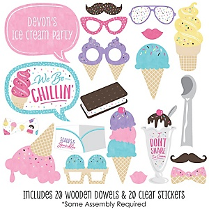 Scoop Up The Fun - Ice Cream - 20 Piece Sprinkles Party Photo Booth Props Kit