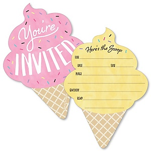 Scoop Up The Fun - Ice Cream - Shaped Fill-In Invitations - Sprinkles Party Invitation Cards with Envelopes - Set of 12