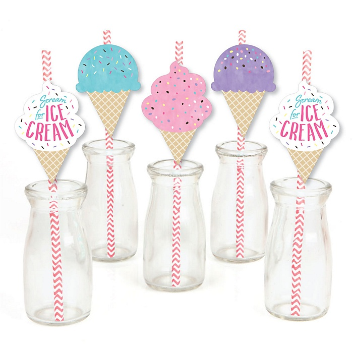 Scoop Up The Fun - Ice Cream - Paper Straw Decor - Sprinkles Party Striped Decorative Straws - Set of 24