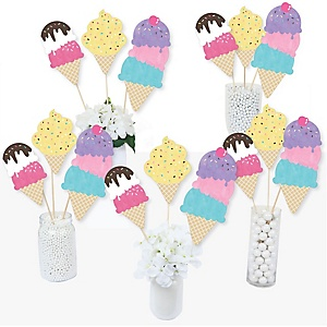 Scoop Up The Fun - Ice Cream - Sprinkles Party Centerpiece Sticks - Table Toppers - Set of 15