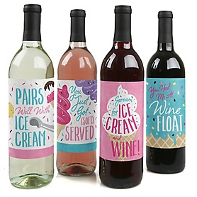 Scoop Up The Fun - Ice Cream - Sprinkles Party Decorations for Women and Men - Wine Bottle Label Stickers - Set of 4