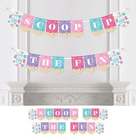 Scoop Up The Fun - Ice Cream - Sprinkles Party Bunting Banner - Party Decorations - Scoop Up The Fun