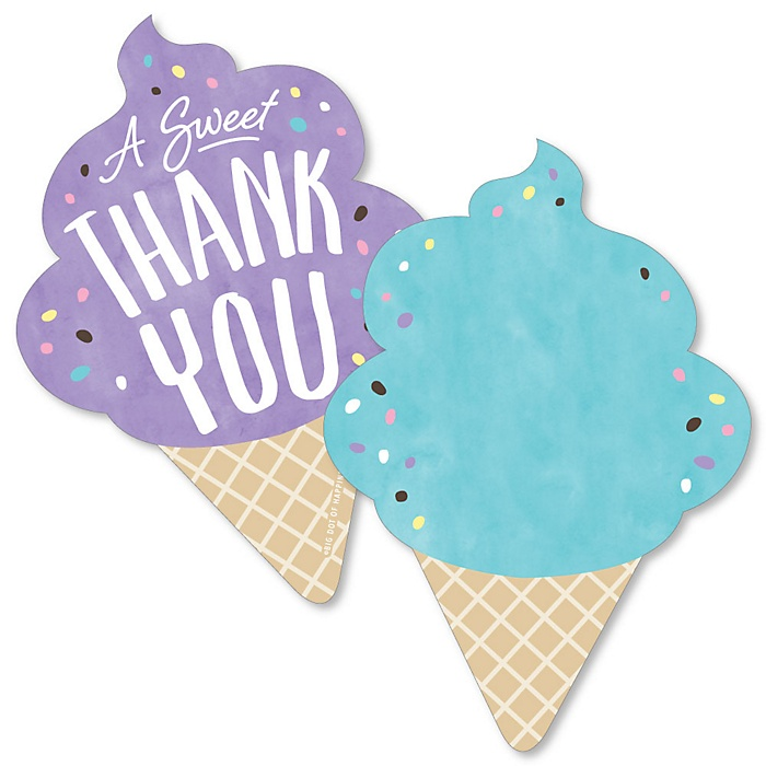 Scoop Up The Fun - Ice Cream - Shaped Thank You Cards - Sprinkles Party Thank You Note Cards with Envelopes - Set of 12