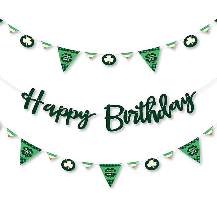 Irish Birthday - Shamrock Birthday Party Letter Banner Decoration - 36 Banner Cutouts and Happy Birthday Banner Letters