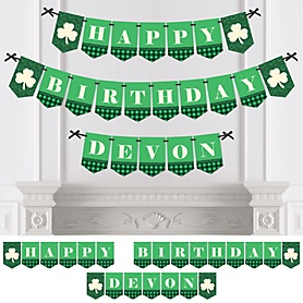Irish Birthday - Personalized Shamrock Birthday Party Bunting Banner and Decorations