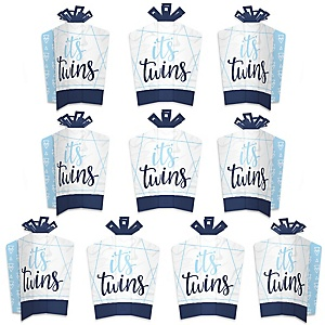 It's Twin Boys - Table Decorations - Blue Twins Baby Shower Fold and Flare Centerpieces - 10 Count