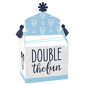 It's Twin Boys - Treat Box Party Favors - Blue Twins Baby Shower Goodie Gable Boxes - Set of 12