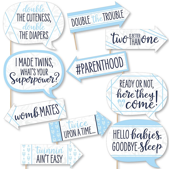 Funny It's Twin Boys - 10 Piece Blue Twins Baby Shower Photo Booth Props Kit