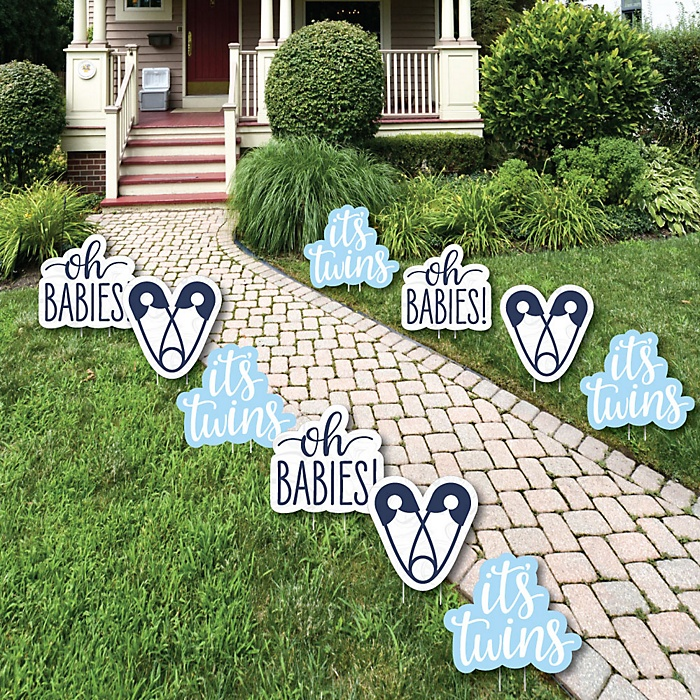 It's Twin Boys - Lawn Decorations - Outdoor Blue Twins Baby Shower Yard Decorations - 10 Piece
