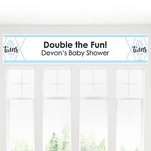 It's Twin Boys - Personalized Blue Twins Baby Shower Banner