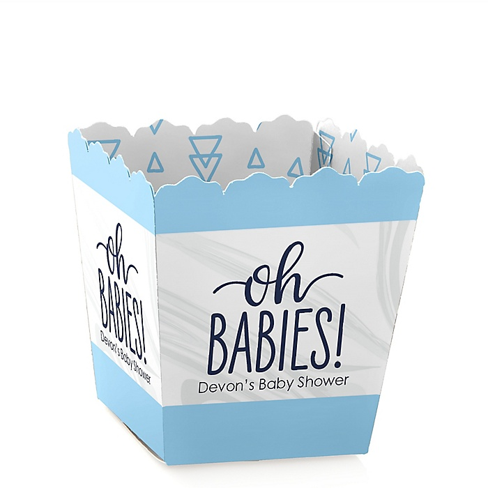 It's Twin Boys - Party Mini Favor Boxes - Personalized Blue Twins Baby Shower Treat Candy Boxes - Set of 12