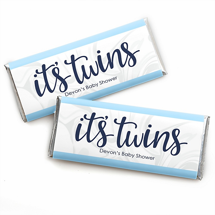 It's Twin Boys - Personalized Candy Bar Wrapper Blue Twins Baby Shower Favors - Set of 24