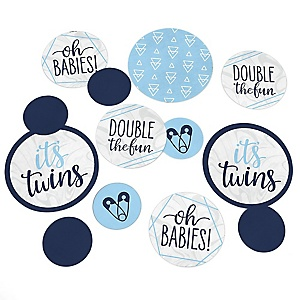 It's Twin Boys - Blue Twins Baby Shower Giant Circle Confetti - Party Decorations - Large Confetti 27 Count