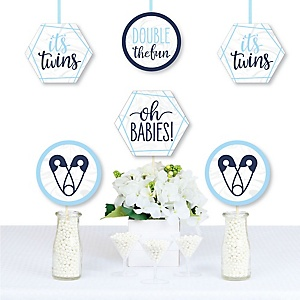 It's Twin Boys - Decorations DIY Blue Twins Baby Shower Essentials - Set of 20