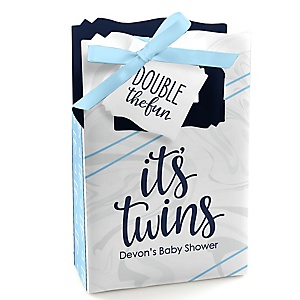 It's Twin Boys - Personalized Blue Twins Baby Shower Favor Boxes - Set of 12
