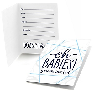 It's Twin Boys - Fill In Blue Twins Baby Shower Invitations - 8 ct