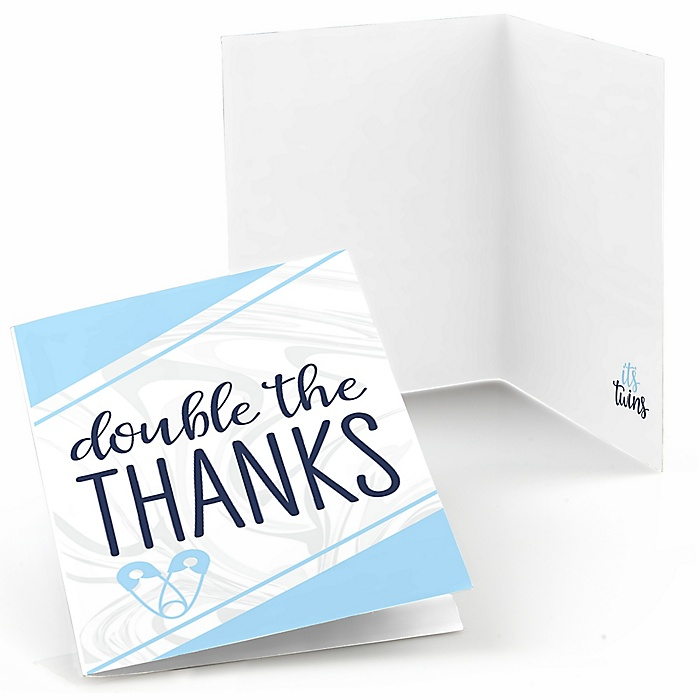 It's Twin Boys - Blue Twins Baby Shower Thank You Cards - 8 ct