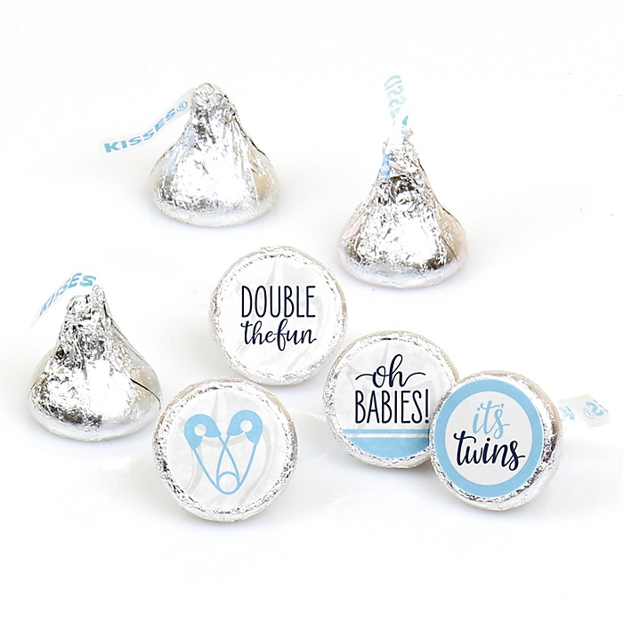 It's Twin Boys - Blue Twins Baby Shower Round Candy Sticker Favors - Labels Fit Hershey's Kisses - 108 ct