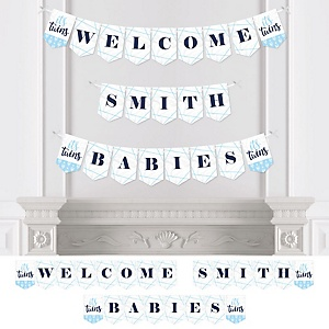It's Twin Boys - Personalized Blue Twins Baby Shower Bunting Banner and Decorations