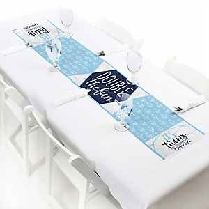 It's Twin Boys - Personalized Blue Twins Baby Shower Petite Table Runner