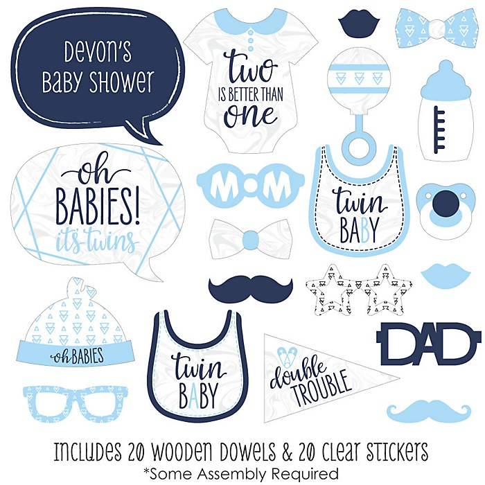It's Twin Boys - 20 Piece Blue Twins Baby Shower Photo Booth Props Kit