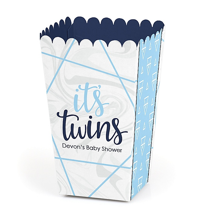 It's Twin Boys - Personalized Blue Twins Baby Shower Favor Popcorn Treat Boxes - Set of 12