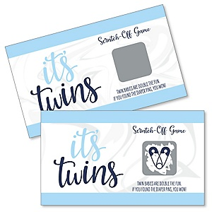 It's Twin Boys - Blue Twins Baby Shower Game Scratch Off Cards - 22 Count