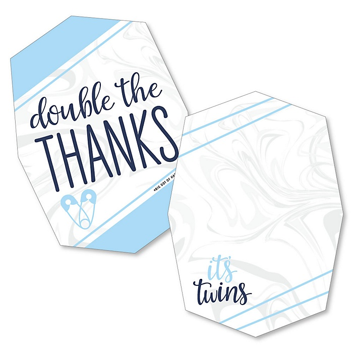 It's Twin Boys - Shaped Thank You Cards - Blue Twins Baby Shower Thank You Note Cards with Envelopes - Set of 12