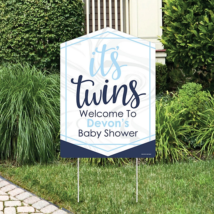 It's Twin Boys - Party Decorations - Blue Twins Baby Shower Personalized Welcome Yard Sign