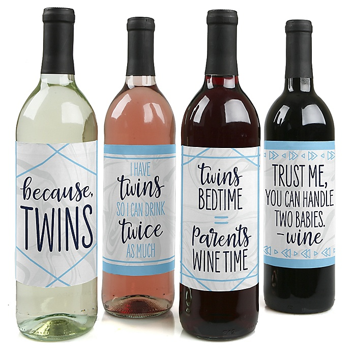 It's Twin Boys - Blue Twins Baby Shower Decorations for Women and Men - Wine Bottle Label Stickers - Set of 4