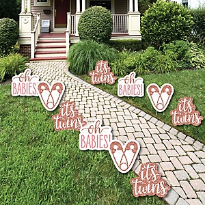 It's Twin Girls - Lawn Decorations - Outdoor Pink and Rose Gold Twins Baby Shower Yard Decorations - 10 Piece
