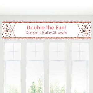 It's Twin Girls - Personalized Pink and Rose Gold Twins Baby Shower Banner