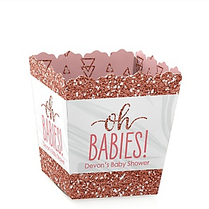 It's Twin Girls - Party Mini Favor Boxes - Personalized Pink and Rose Gold Twins Baby Shower Treat Candy Boxes - Set of 12