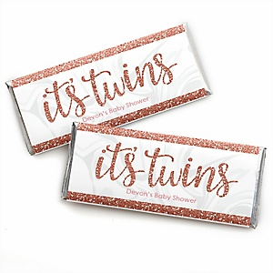 It's Twin Girls - Personalized Candy Bar Wrapper Pink and Rose Gold Twins Baby Shower Favors - Set of 24
