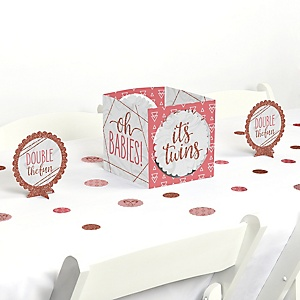 It's Twin Girls - Pink and Rose Gold Twins Baby Shower Centerpiece & Table Decoration Kit