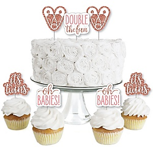 It's Twin Girls - Dessert Cupcake Toppers - Pink and Rose Gold Twins Baby Shower Clear Treat Picks - Set of 24