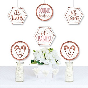 It's Twin Girls - Decorations DIY Pink and Rose Gold Twins Baby Shower Essentials - Set of 20