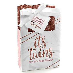 It's Twin Girls - Personalized Pink and Rose Gold Twins Baby Shower Favor Boxes - Set of 12