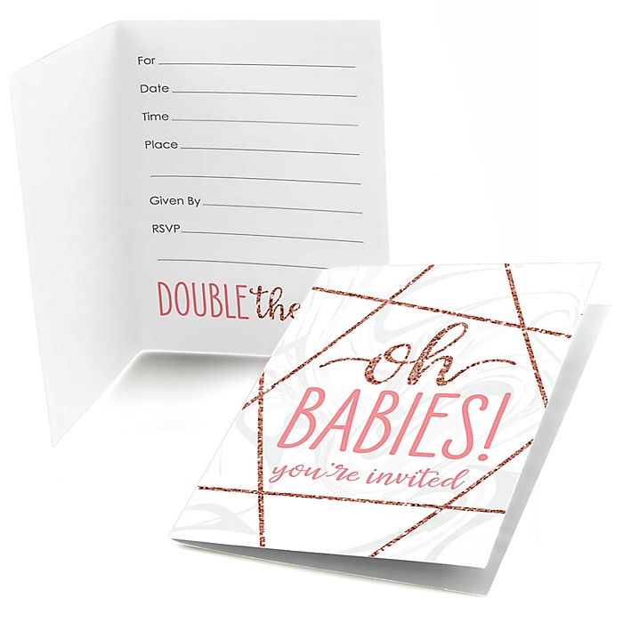 It's Twin Girls - Fill In Pink and Rose Gold Twins Baby Shower Invitations - 8 ct