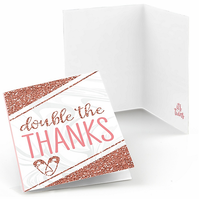 It's Twin Girls - Pink and Rose Gold Twins Baby Shower Thank You Cards - 8 ct