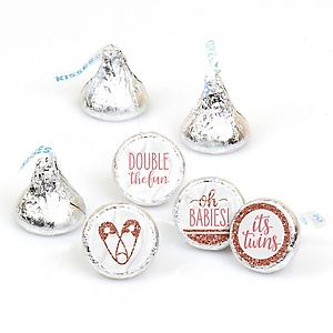 It's Twin Girls - Pink and Rose Gold Twins Baby Shower Round Candy Sticker Favors - Labels Fit Hershey's Kisses - 108 ct