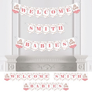 It's Twin Girls - Personalized Pink and Rose Gold Twins Baby Shower Bunting Banner and Decorations