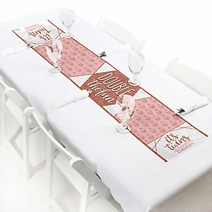 It's Twin Girls - Personalized Pink and Rose Gold Twins Baby Shower Petite Table Runner